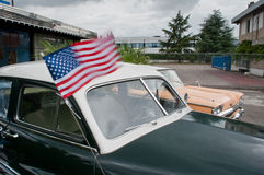 Lincoln,ford and american flag Stock Image