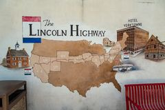 The Lincoln Highway Mural. York, PA, USA – June 25, 2016: The Lincoln Highway Garage, originally constructed in 1921, offered the first drive-in service Royalty Free Stock Photos