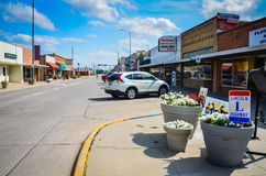 Lincoln Highway - Ogallala, Nebraska. The Lincoln Highway, the United State`s first transcontinental highway, runs through a typical American main street in Royalty Free Stock Photography