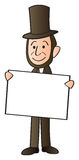 Lincoln Holding Sign. A cartoon depiction of Abraham Lincoln holding a blank sign Royalty Free Stock Image