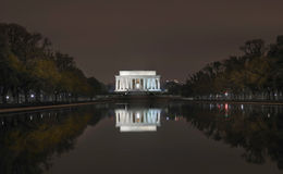 Lincoln Light Reflection Washington DC Night Royalty Free Stock Photos