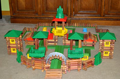 Lincoln Log Toy Castle. A Lincoln Log toy castle built by some boys.  A magical Kingdon of sorts Royalty Free Stock Photo