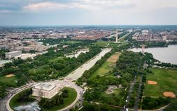 The Lincoln Memoral and the Washington Monument on the national mall as seen from the sky in Washington DC. The Lincoln Memorial and the Washington Monument seen stock image