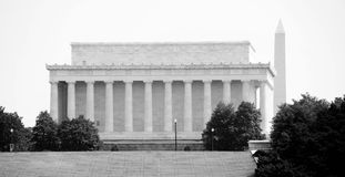 Lincoln Memorial. The Lincoln Memorial with Washington Monument in the background stock images