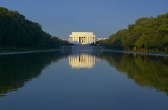 The Lincoln Memorial. And Reflecting pond at sunrise in Washington D.C Stock Images