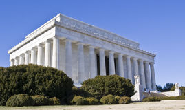 Lincoln Memorial. Captured at a low angle on sunny winter day royalty free stock photos
