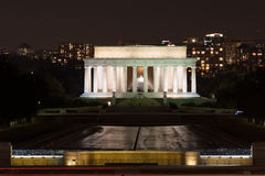 Lincoln Memorial alla notte Fotografia Stock