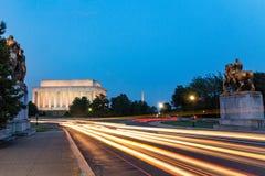 Lincoln Memorial alla notte Visto dal ponte commemorativo, Washington DC, U.S.A. Fotografia Stock Libera da Diritti