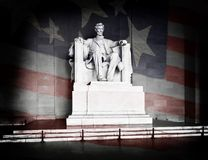 Lincoln Memorial and American Flag. Abraham Lincoln at the Lincoln Memorial in Washington DC with American Flag Royalty Free Stock Photography