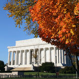 Lincoln memorial in autumn stock photo