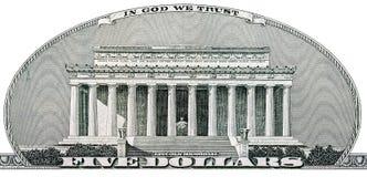 Lincoln Memorial av fem dollar Royaltyfria Foton