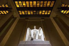 Lincoln Memorial bij nacht, Washington DC stock foto