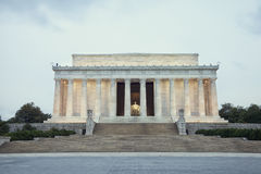 Lincoln Memorial at dawn on overcast day during spring Stock Photos
