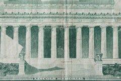 Lincoln Memorial en vieja nota de cinco dólares Imagen de archivo