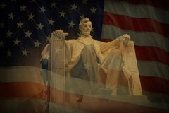 Lincoln Memorial Flag Stock Image
