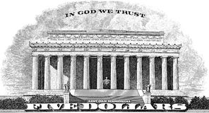 Lincoln Memorial In God We Trust Royalty Free Stock Photography