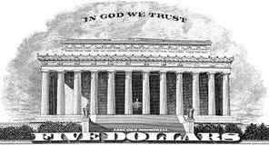 Lincoln Memorial im Gott, den wir vertrauen Lizenzfreie Stockfotografie