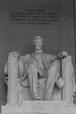 Lincoln Memorial inside view and inscription. The famous president seated and viewing the mall in Washington Stock Photo