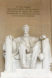 Lincoln Memorial inside view and inscription. The famous president seated and viewing the mall in Washington Royalty Free Stock Image