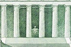 Lincoln Memorial Macro Back of US Five Dollar Bill Stock Images