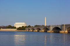 Lincoln Memorial and National Monument at sunset in Washington DC. Royalty Free Stock Images