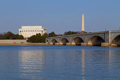 Lincoln Memorial and National Monument at sunset in Washington DC. Royalty Free Stock Photo