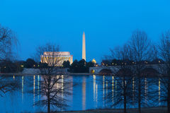 Lincoln Memorial, National Monument and US Capitol Buildings after sunset. Stock Image