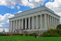 Lincoln Memorial near National Mall in Washington DC. Washington D.C., USA - May 2, 2015: People enjoy their free time and visit the Lincoln Memorial in Stock Images