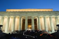 Lincoln Memorial Night Light Painting royaltyfria bilder