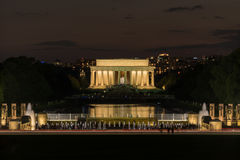 Lincoln Memorial at night over World War Two memorial Royalty Free Stock Images