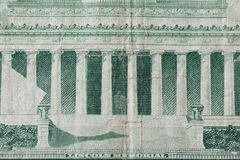 Lincoln Memorial on old five dollar note Stock Image