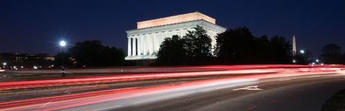 Lincoln Memorial at night with light trails Royalty Free Stock Photo