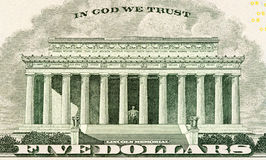Lincoln memorial on paper five dollars bill Stock Photo