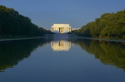 The Lincoln Memorial and Reflecting pond at sunrise in Washington D.C. Stock Image