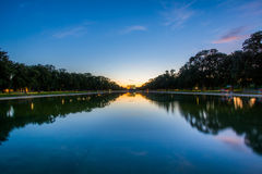 The Lincoln Memorial and Reflecting Pool at sunset, in Washington, DC. stock image