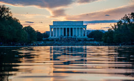 Lincoln Memorial Reflection on the National Mall Lake at Sunset Royalty Free Stock Photography