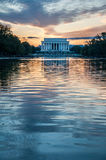 Lincoln Memorial Reflection on the National Mall Lake at Sunset Stock Photos