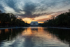 Lincoln Memorial Reflection on the National Mall Lake at Sunset Royalty Free Stock Photo