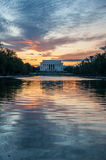 Lincoln Memorial Reflection on the National Mall Lake at Sunset Royalty Free Stock Images