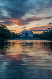 Lincoln Memorial Reflection on the National Mall Lake at Sunset Royalty Free Stock Image