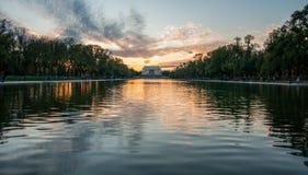 Lincoln Memorial Reflection op het Nationale Wandelgalerijmeer bij Zonsondergang Royalty-vrije Stock Fotografie
