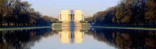 Lincoln Memorial in shadow of Washington Monument. At dusk, Washington DC Royalty Free Stock Photo