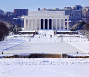 Lincoln Memorial After Snow Washington DC Stock Photo