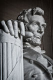 Lincoln Memorial Statue. Detail of the giant Lincoln Memorial Statue at the west end of the National Mall in Washington DC, United States stock image