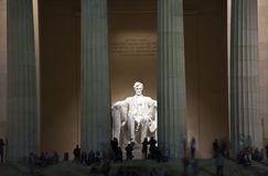 Lincoln Memorial Statue Evening Washington DC. Lincoln Memorial White Statue Evening Washington DC Faces Blurred by Long Exposure stock photo