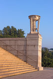 Lincoln Memorial steps with a beautiful pink marble tripod on the buttress. Royalty Free Stock Photos