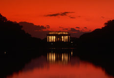 Lincoln Memorial at sunset. With red sky Royalty Free Stock Image