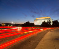Lincoln Memorial Traffic. This is a long exposure of traffic behind the Lincoln Memorial in Washington DC Stock Photos
