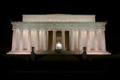 Lincoln Memorial in Washington DC bij nacht Stock Foto