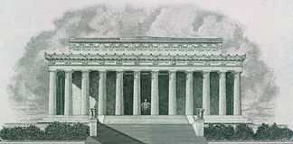 Lincoln Memorial in Washington DC. Drawing of Lincoln Memorial in Washington DC Printed on Banknotes Stock Image